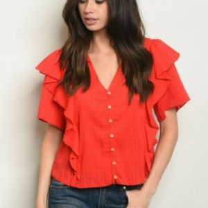 Loveriche Top Cotton Red Short Ruffle Sleeve New